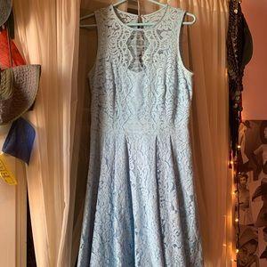 Light blue lace overlay shoulder-less dress
